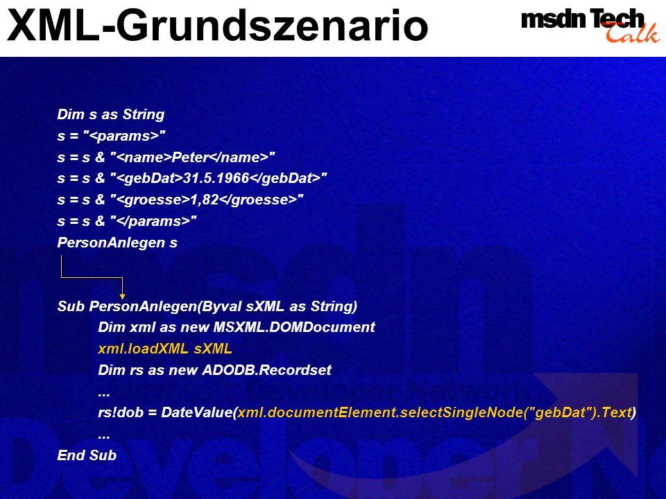XML-Grundszenario Dim s as String s =