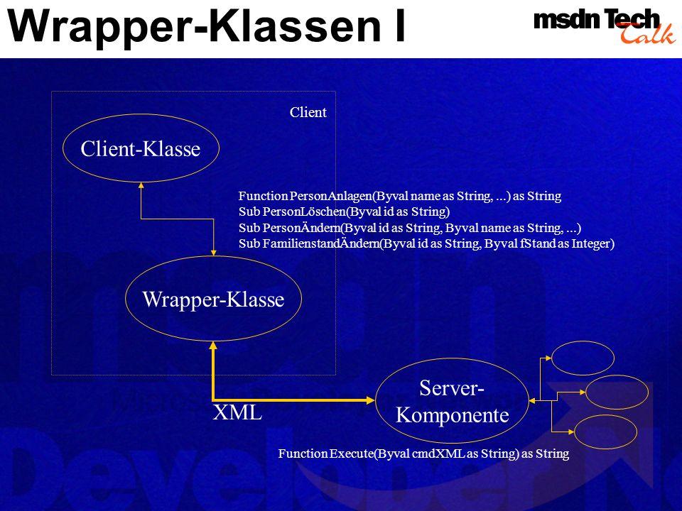 Wrapper-Klassen I Client-Klasse Wrapper-Klasse Server- Komponente XML Function Execute(Byval cmdXML as String) as String Function PersonAnlagen(Byval