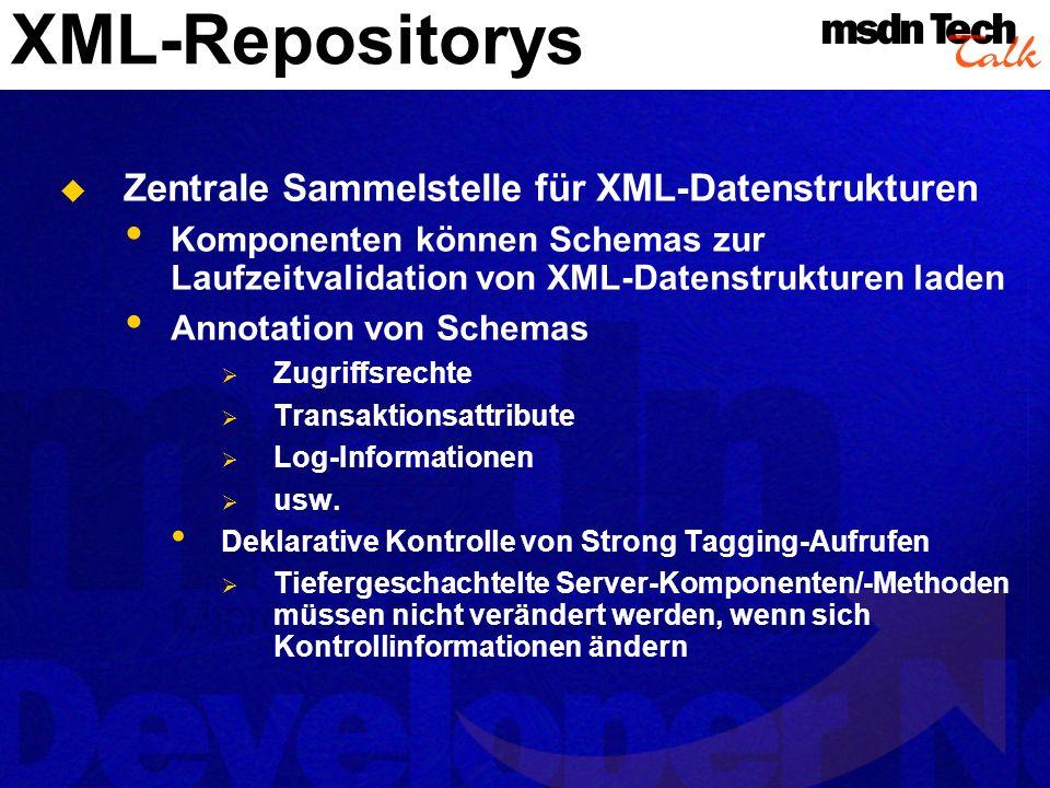 XML-Repositorys Zentrale Sammelstelle für XML-Datenstrukturen Komponenten können Schemas zur Laufzeitvalidation von XML-Datenstrukturen laden Annotati