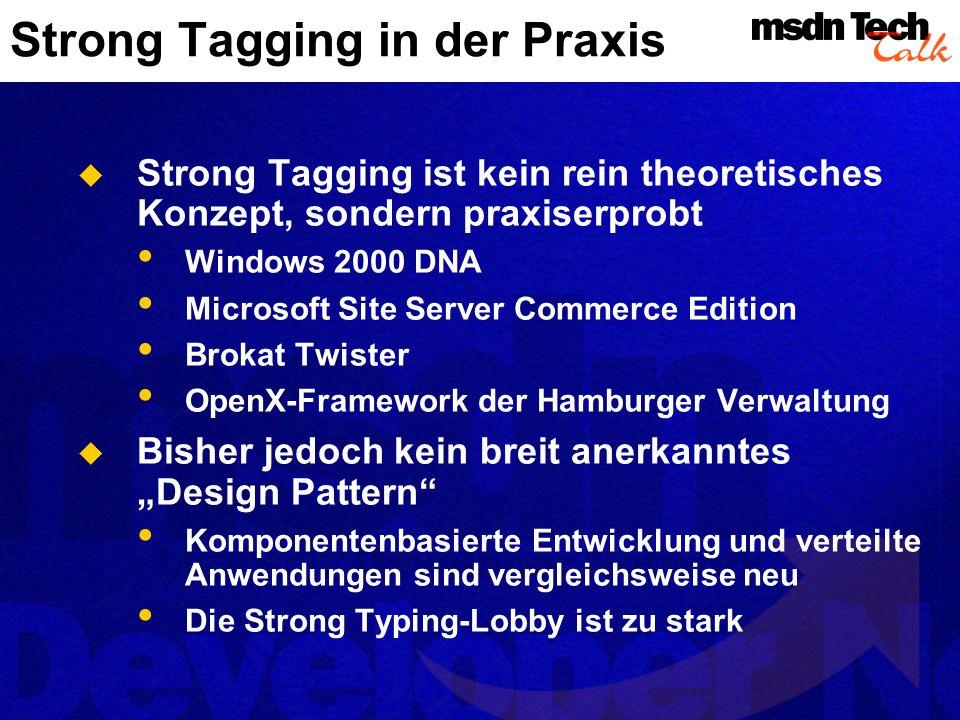 Strong Tagging in der Praxis Strong Tagging ist kein rein theoretisches Konzept, sondern praxiserprobt Windows 2000 DNA Microsoft Site Server Commerce