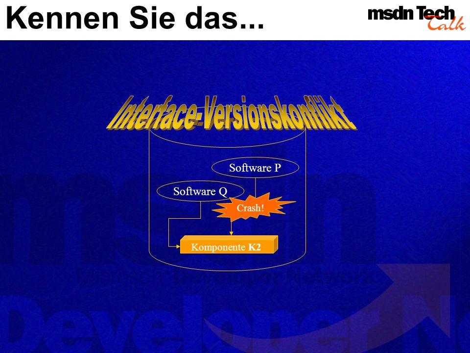 Kennen Sie das... Software P Software Q Komponente K1Komponente K2 Crash!