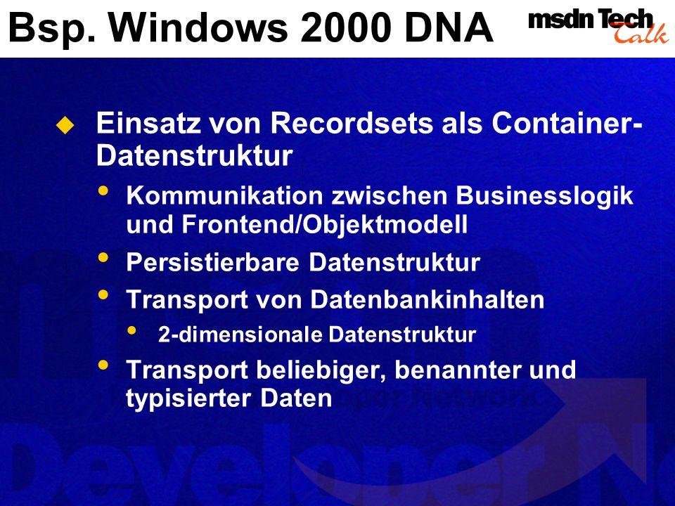 Bsp. Windows 2000 DNA Einsatz von Recordsets als Container- Datenstruktur Kommunikation zwischen Businesslogik und Frontend/Objektmodell Persistierbar