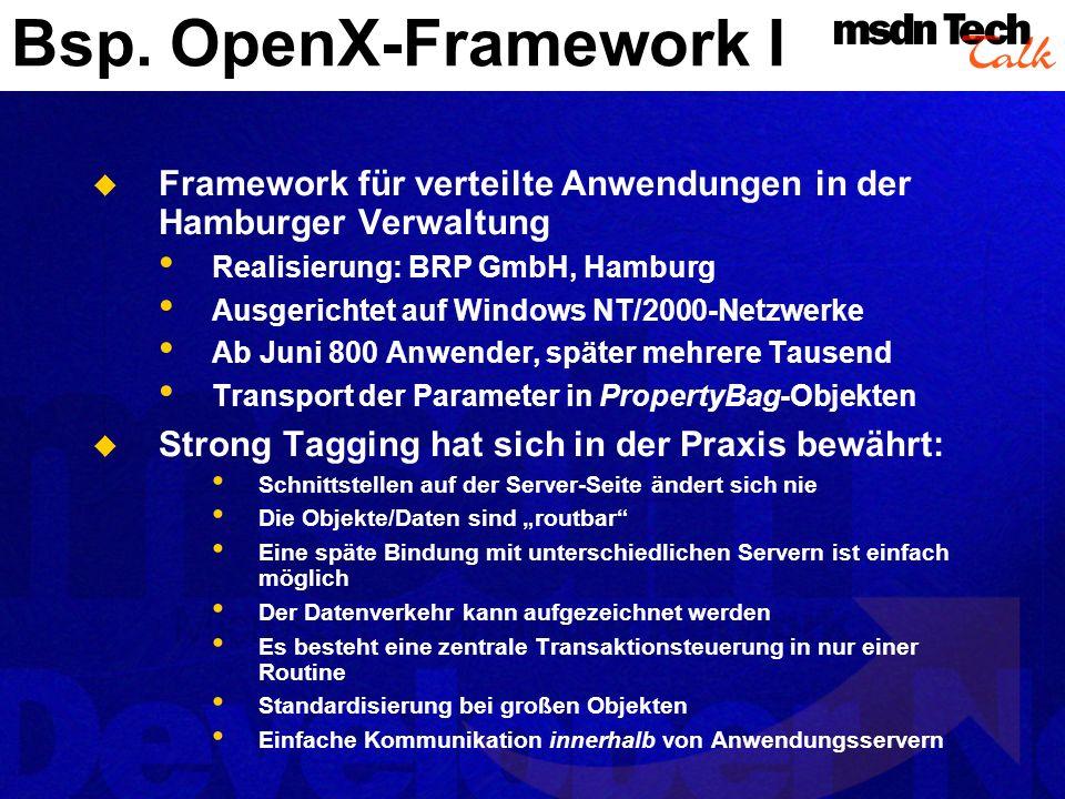 Bsp. OpenX-Framework I Framework für verteilte Anwendungen in der Hamburger Verwaltung Realisierung: BRP GmbH, Hamburg Ausgerichtet auf Windows NT/200
