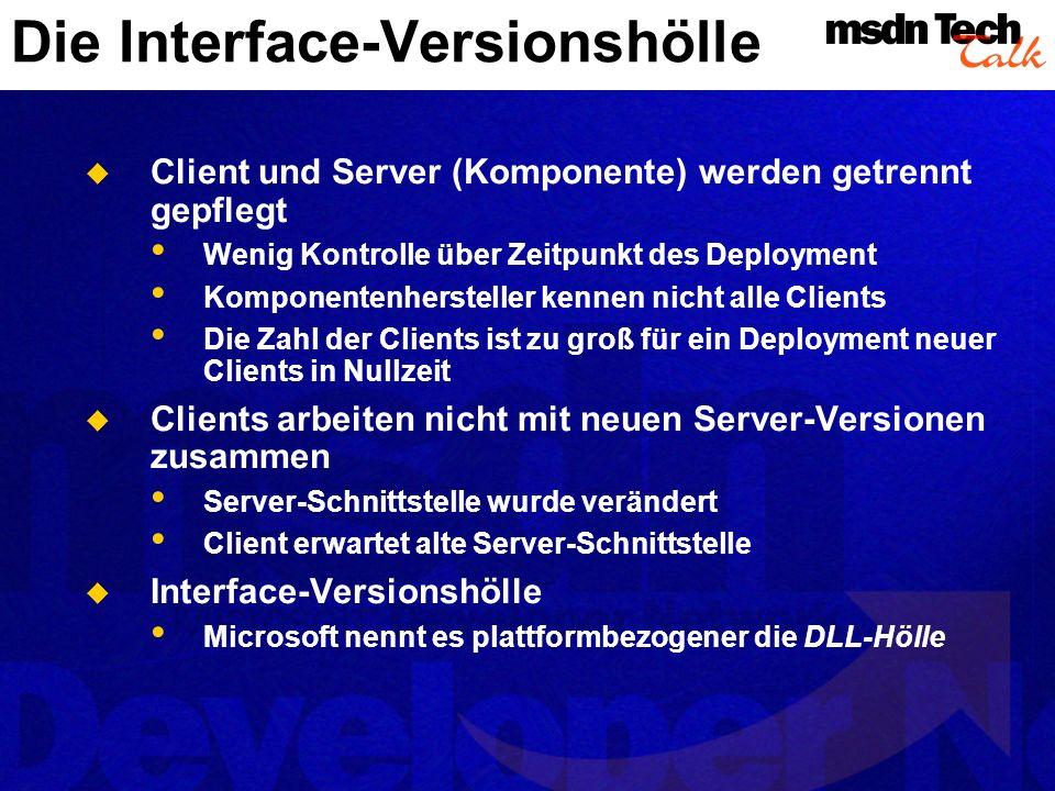 Symptomkuren Minuziöse Interface-Verwaltung Microsoft Windows: Interfaces von Hand in Typelibs pflegen Nach Deployment Interfaces nicht mehr ändern.