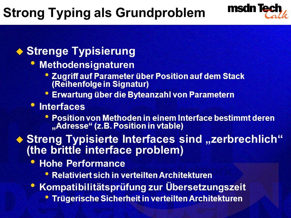 Strong Typing als Grundproblem Strenge Typisierung Methodensignaturen Zugriff auf Parameter über Position auf dem Stack (Reihenfolge in Signatur) Erwa