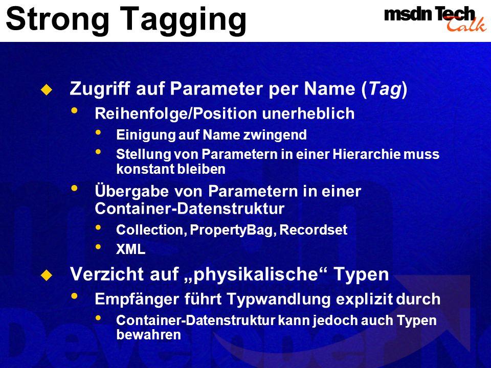 Vorteile I Strong Tagging unterstützt die Interface- Evolution Hinzufügen von Parametern Optionale Parameter erhalten Default-Werte Defaults können dynamisch bestimmt werden Wegfall von Parametern Überzählige Parameter werden ignoriert Positionsänderung von Parametern Zugriff erfolgt per Parametername Typänderungen Tolerant gegenüber Typweitungen (Integer String)