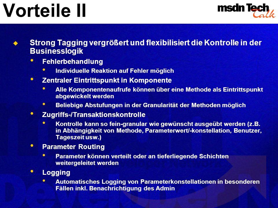 Vorteile II Strong Tagging vergrößert und flexibilisiert die Kontrolle in der Businesslogik Fehlerbehandlung Individuelle Reaktion auf Fehler möglich