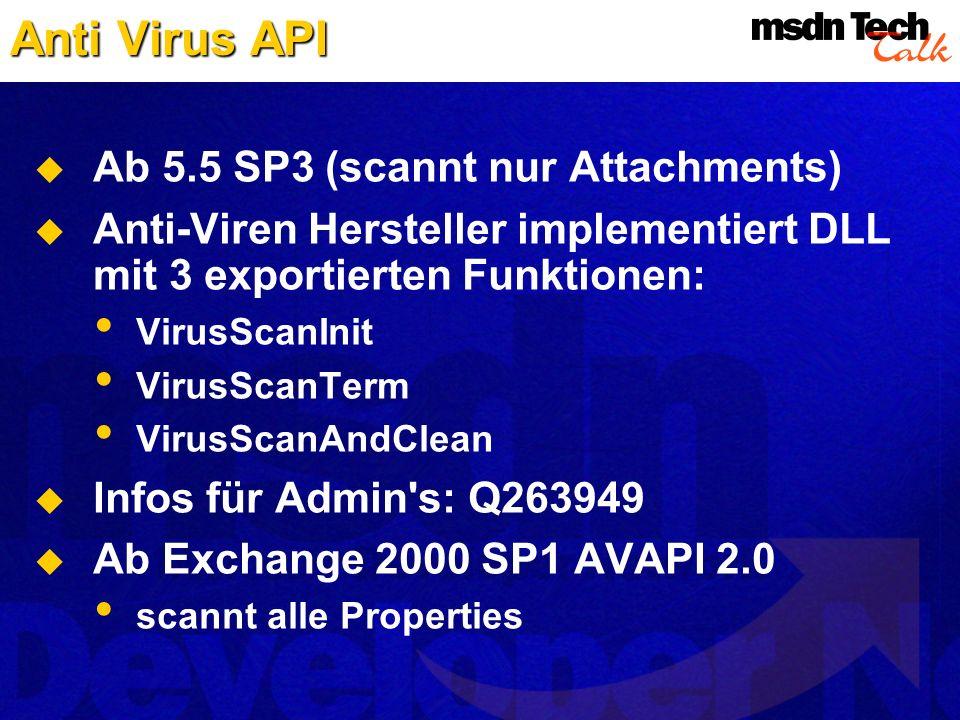 Ab 5.5 SP3 (scannt nur Attachments) Anti-Viren Hersteller implementiert DLL mit 3 exportierten Funktionen: VirusScanInit VirusScanTerm VirusScanAndCle