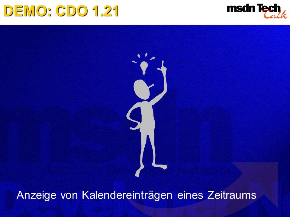 Anzeige von Kalendereinträgen eines Zeitraums DEMO: CDO 1.21