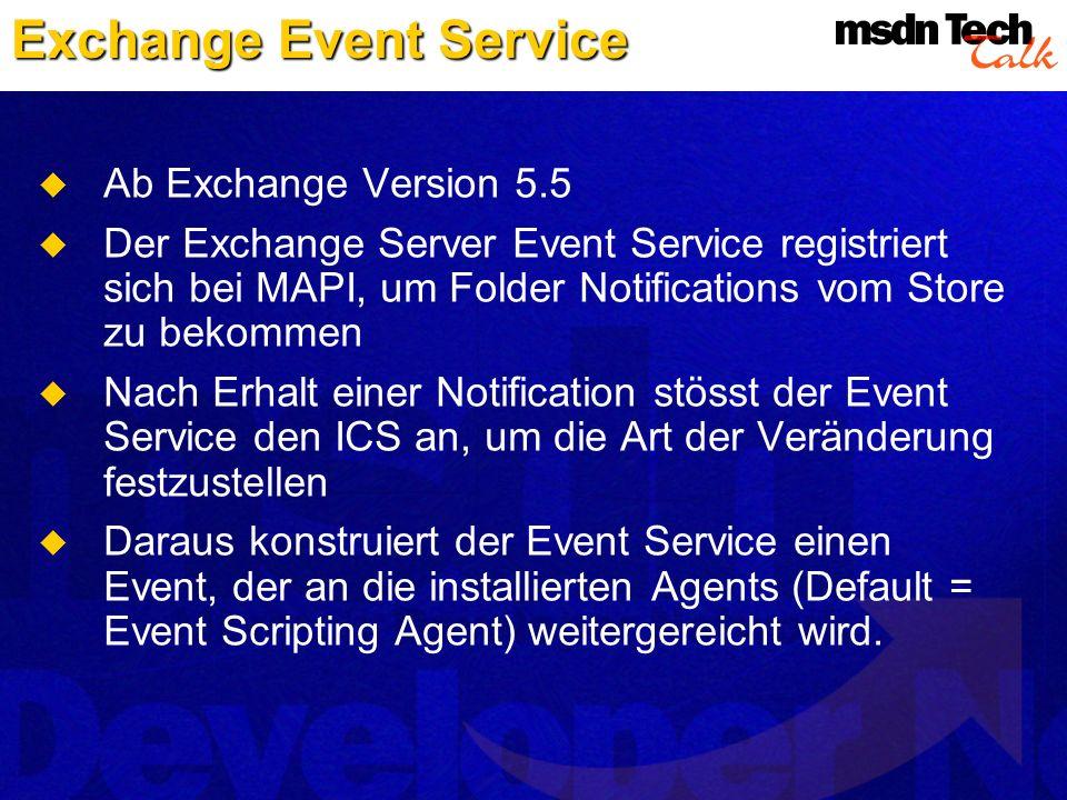 Exchange Event Service Ab Exchange Version 5.5 Der Exchange Server Event Service registriert sich bei MAPI, um Folder Notifications vom Store zu bekom