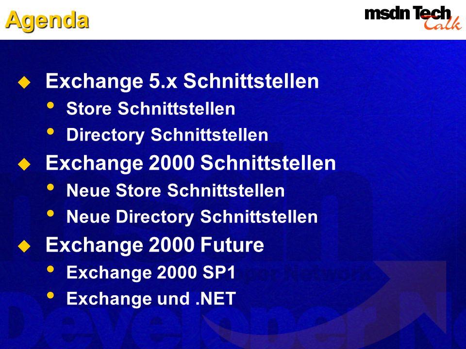 Agenda Exchange 5.x Schnittstellen Store Schnittstellen Directory Schnittstellen Exchange 2000 Schnittstellen Neue Store Schnittstellen Neue Directory