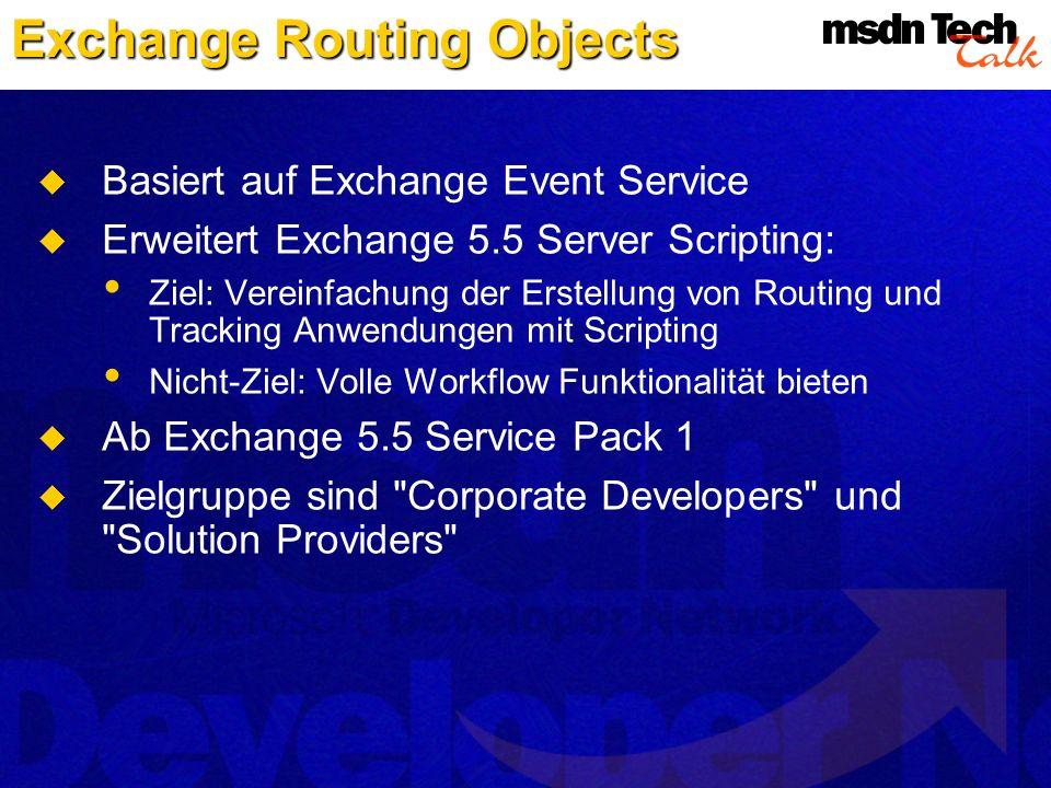 Basiert auf Exchange Event Service Erweitert Exchange 5.5 Server Scripting: Ziel: Vereinfachung der Erstellung von Routing und Tracking Anwendungen mi