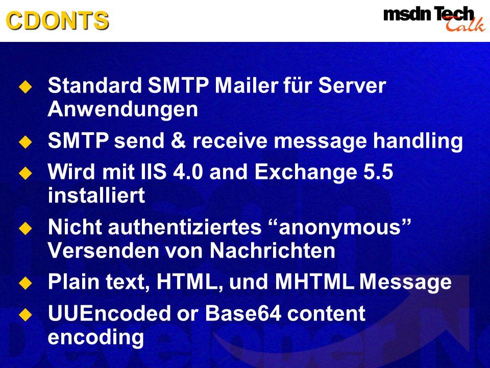 CDONTS Standard SMTP Mailer für Server Anwendungen SMTP send & receive message handling Wird mit IIS 4.0 and Exchange 5.5 installiert Nicht authentizi