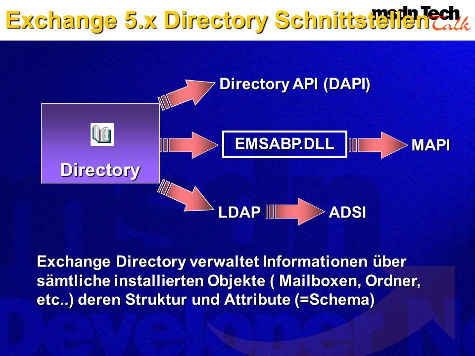 Directory EMSABP.DLL MAPI LDAPADSI Directory API (DAPI) Exchange Directory verwaltet Informationen über sämtliche installierten Objekte ( Mailboxen, O