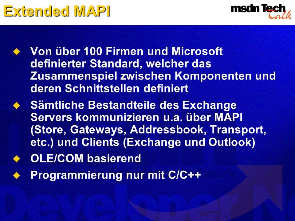 Extended MAPI Von über 100 Firmen und Microsoft definierter Standard, welcher das Zusammenspiel zwischen Komponenten und deren Schnittstellen definier