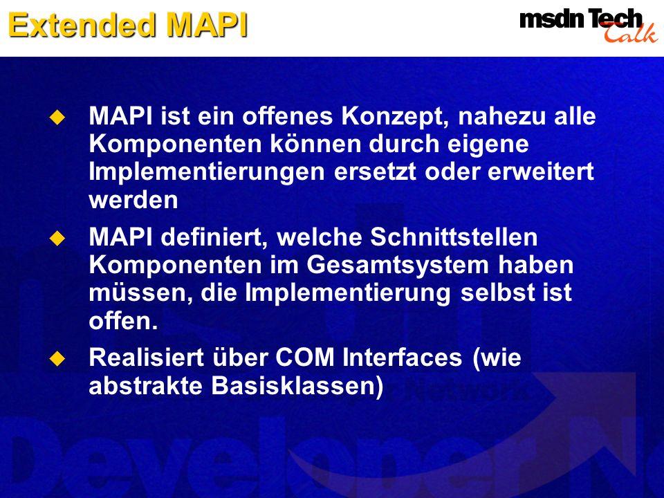 Extended MAPI MAPI ist ein offenes Konzept, nahezu alle Komponenten können durch eigene Implementierungen ersetzt oder erweitert werden MAPI definiert