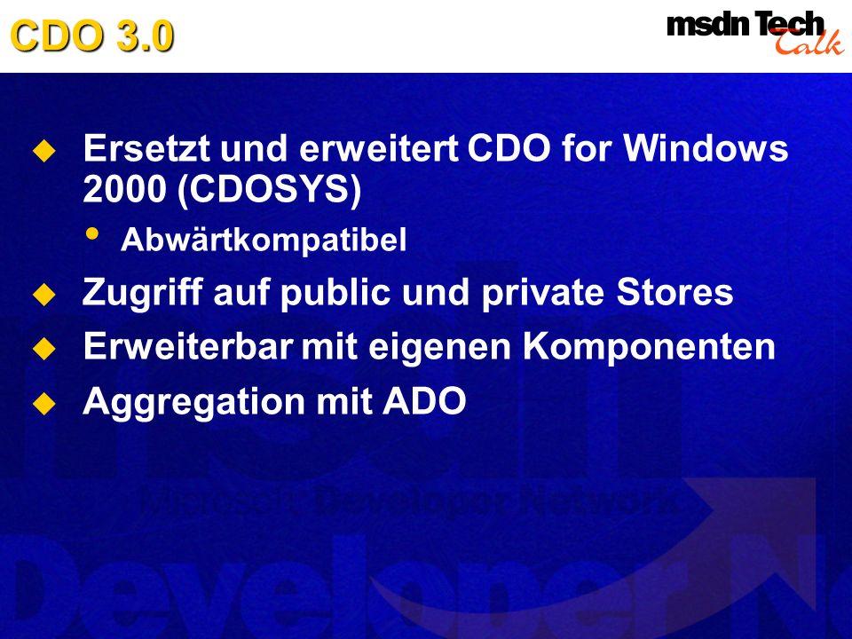 CDO 3.0 Ersetzt und erweitert CDO for Windows 2000 (CDOSYS) Abwärtkompatibel Zugriff auf public und private Stores Erweiterbar mit eigenen Komponenten