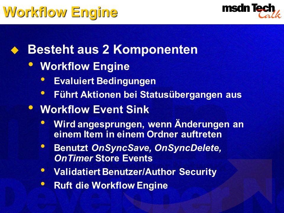 Workflow Engine Besteht aus 2 Komponenten Workflow Engine Evaluiert Bedingungen Führt Aktionen bei Statusübergangen aus Workflow Event Sink Wird anges