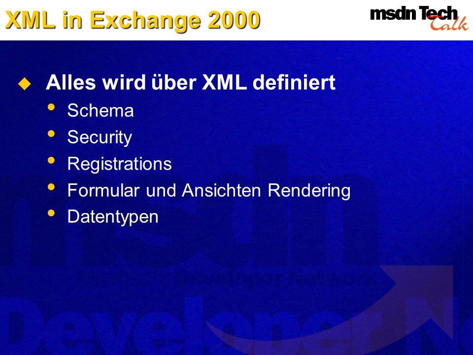 XML in Exchange 2000 Alles wird über XML definiert Schema Security Registrations Formular und Ansichten Rendering Datentypen