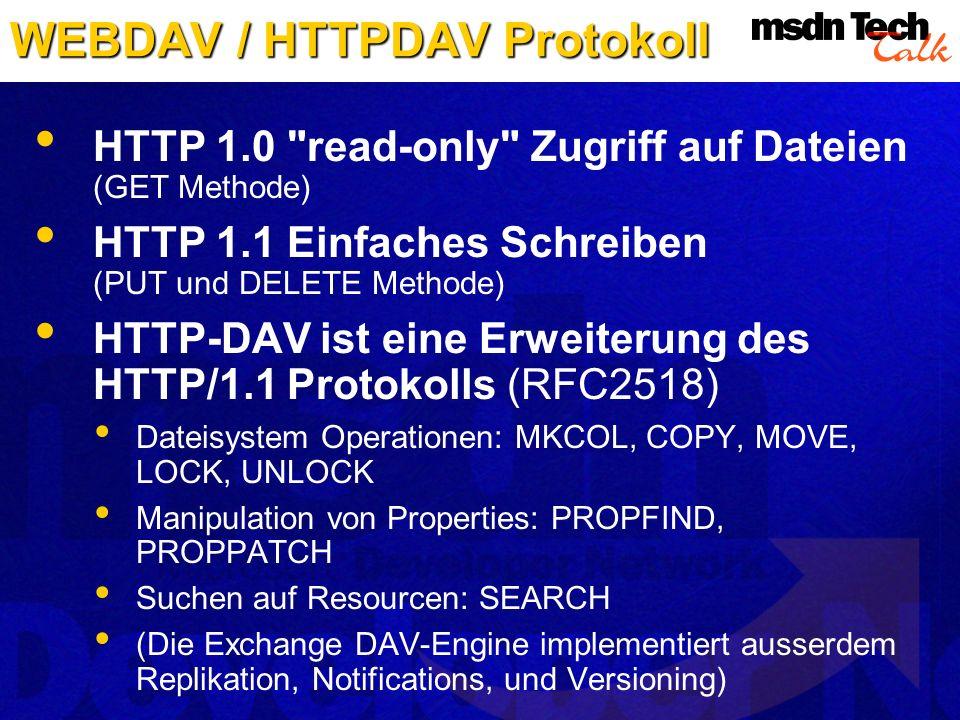 WEBDAV / HTTPDAV Protokoll HTTP 1.0