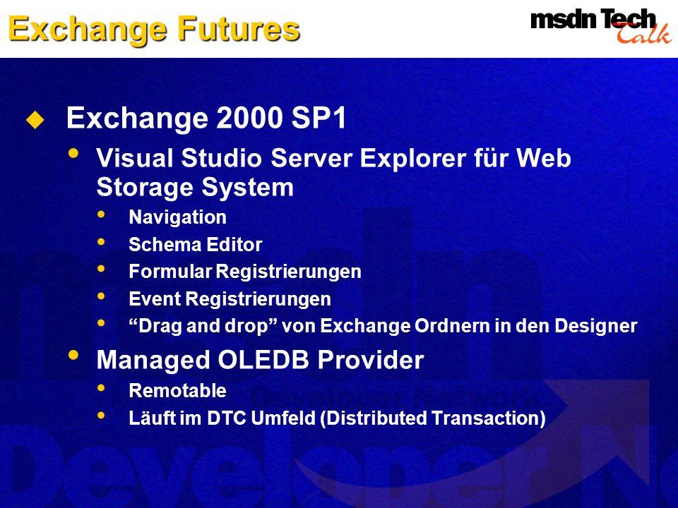 Exchange Futures Exchange 2000 SP1 Visual Studio Server Explorer für Web Storage System Navigation Schema Editor Formular Registrierungen Event Regist