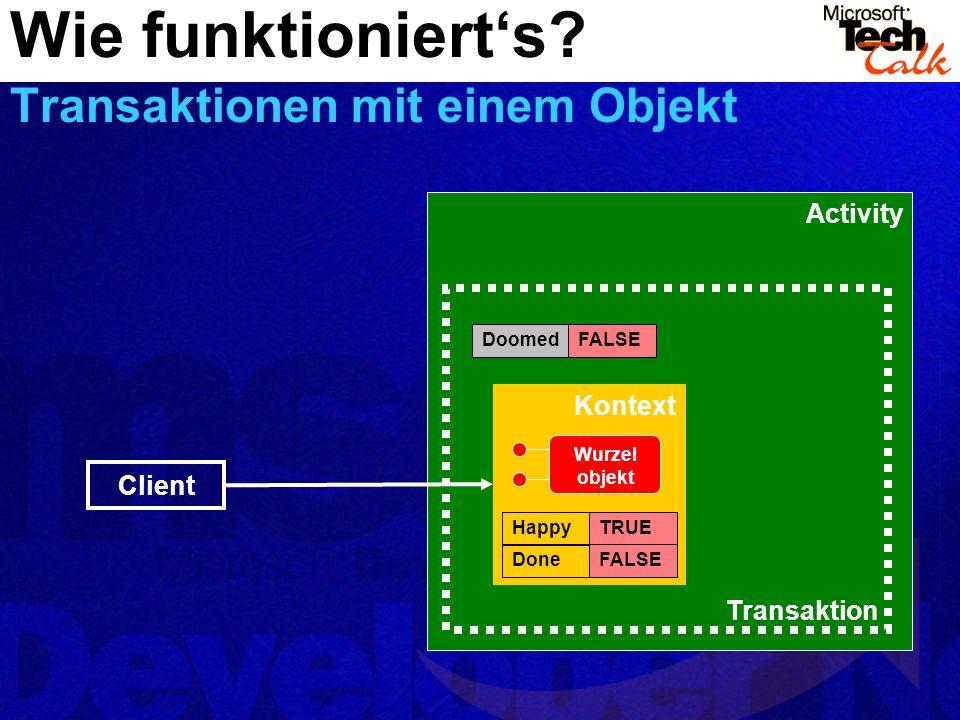 Activity Transaktion Wie funktionierts? Transaktionen mit einem Objekt DoomedFALSE Kontext HappyTRUE DoneFALSE Client Wurzel objekt