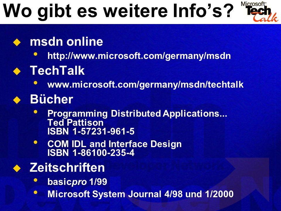 Wo gibt es weitere Infos? msdn online http://www.microsoft.com/germany/msdn TechTalk www.microsoft.com/germany/msdn/techtalk Bücher Programming Distri