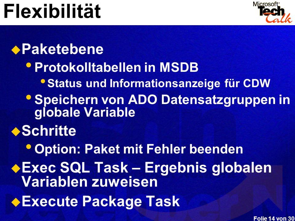 Folie 14 von 30 Flexibilität Paketebene Protokolltabellen in MSDB Status und Informationsanzeige für CDW Speichern von ADO Datensatzgruppen in globale