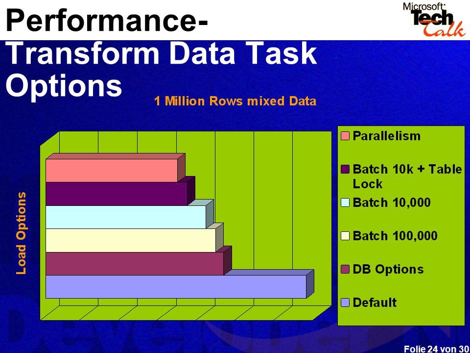 Folie 24 von 30 Performance- Transform Data Task Options