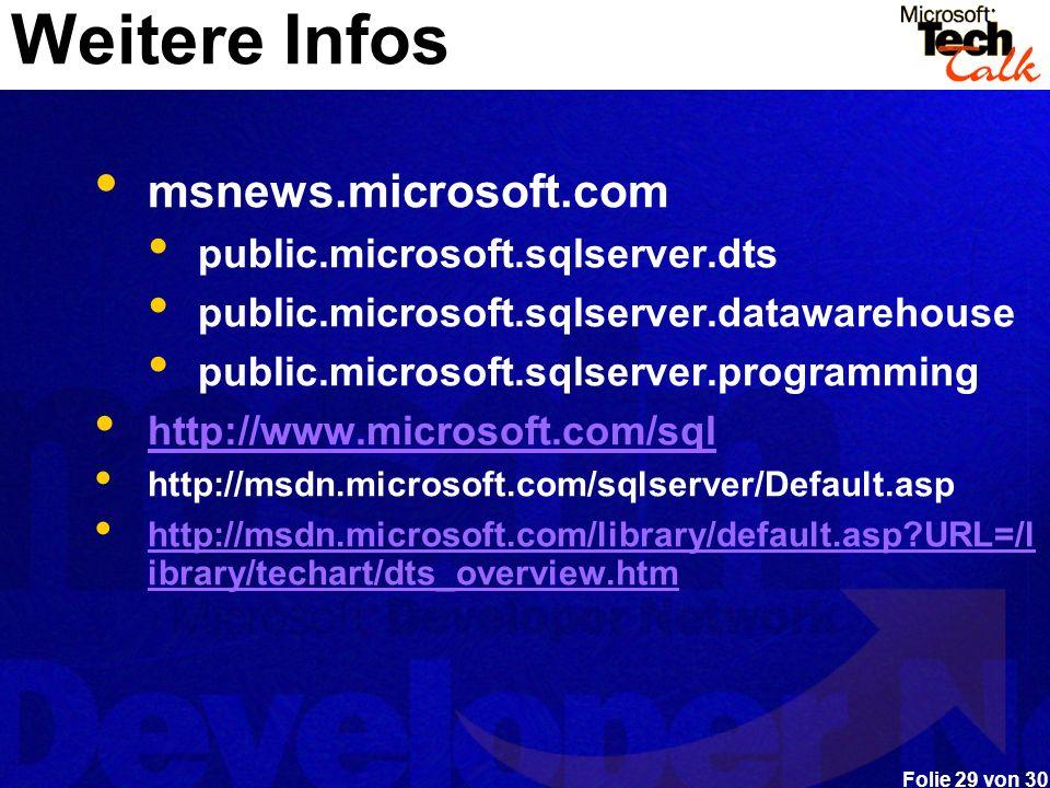 Folie 29 von 30 Weitere Infos msnews.microsoft.com public.microsoft.sqlserver.dts public.microsoft.sqlserver.datawarehouse public.microsoft.sqlserver.