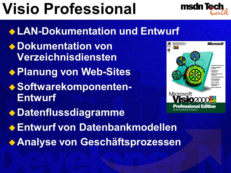 Visio Enterprise (2000 !) Die gesamte Funktionalität von Visio Professional plus: Auto-Discovery von Netzen UML-Softwaremodellierung Datenbank-Modellierung Software-ReEngineering Visio Network Equipment