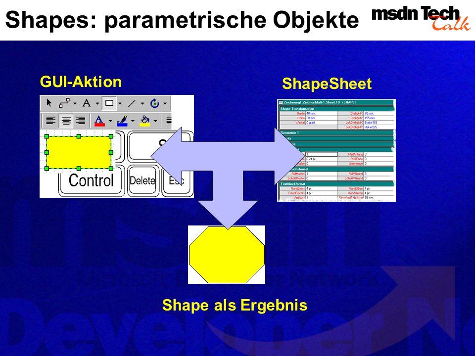Das ShapeSheet Die Grundlage für Visios Flexibilität Shapes sind parame- trische Objekte Alle relevanten Shape- Daten finden sich im ShapeSheet und werden dort definiert und geändert Auch für den Einsatz von Automation not- wendiges Grund- wissen