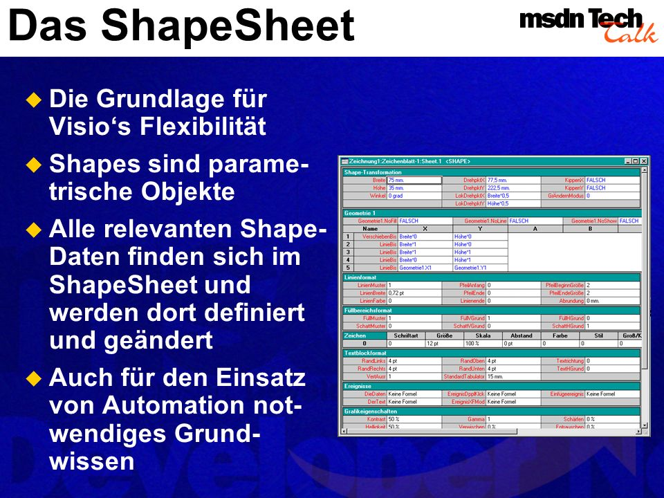 Ereignisse Abschnitt TheText EventDblClick EventXFMod EventDrop Ereignisse im ShapeSheet