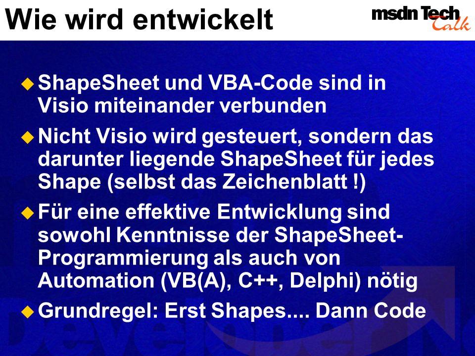 Planung einer Visio-Lösung Vorlagen erleichtern den Benutzern die Arbeit Das Programm muss folgende Aufgaben erfüllen: User Interface und Schutz Dateioperationen, Datenablage Behandlung der einzelnen Shapes Performance bedenken (VSDs > 10000 Shapes)