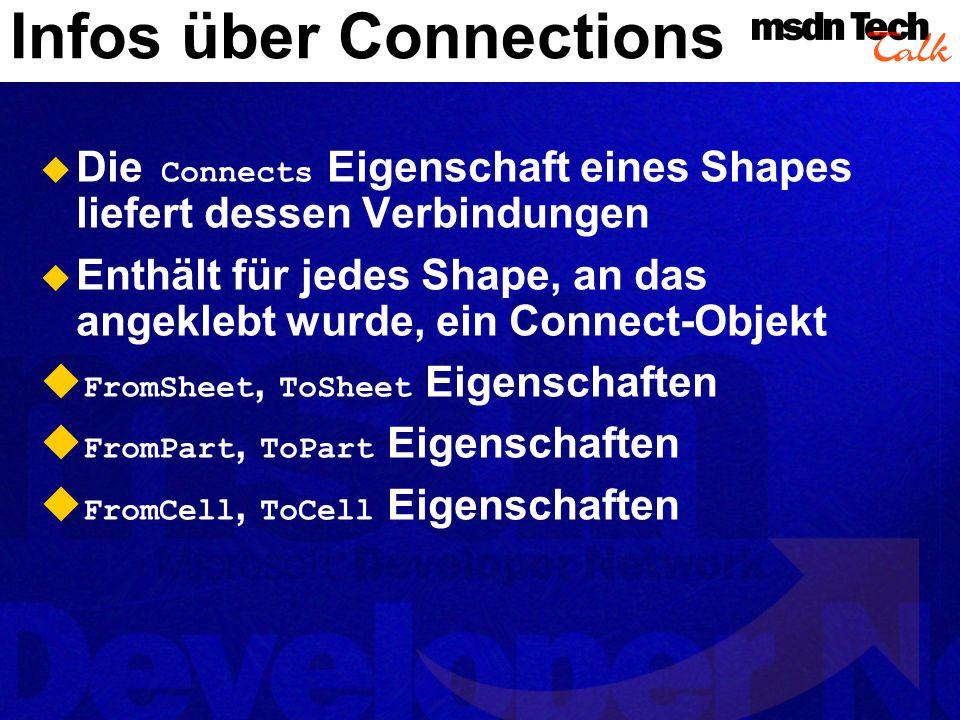 A verbunden nach B (2-D nach 2-D über Steuerelement) A hat einen connects.Count = 1 FromSheet = A, ToSheet = B FromPart = visControlPoint + 0 ToPart = visConnectionPoint + 0 FromCell, ToCell = Cell-Objekte für FromPart, ToPart Steuerelement zu Shape
