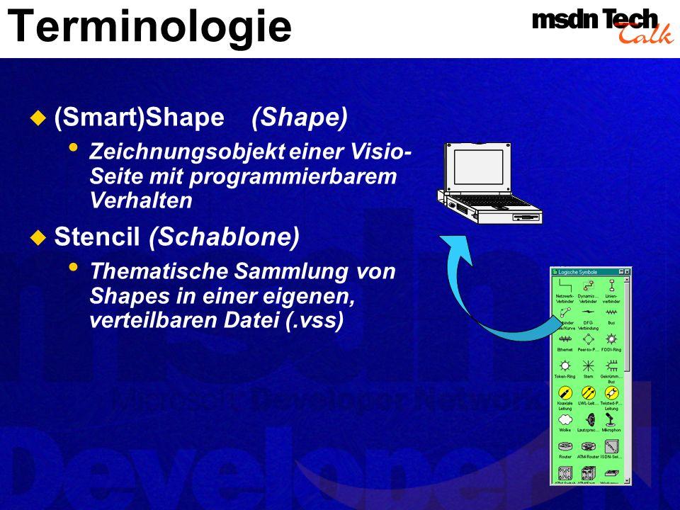 Terminologie 2 MasterShape (MasterShape) Ein Shape in einer Schablone Template (Vorlage) Entspricht in etwa einer Dokumentenvorlage in Office (voreing.