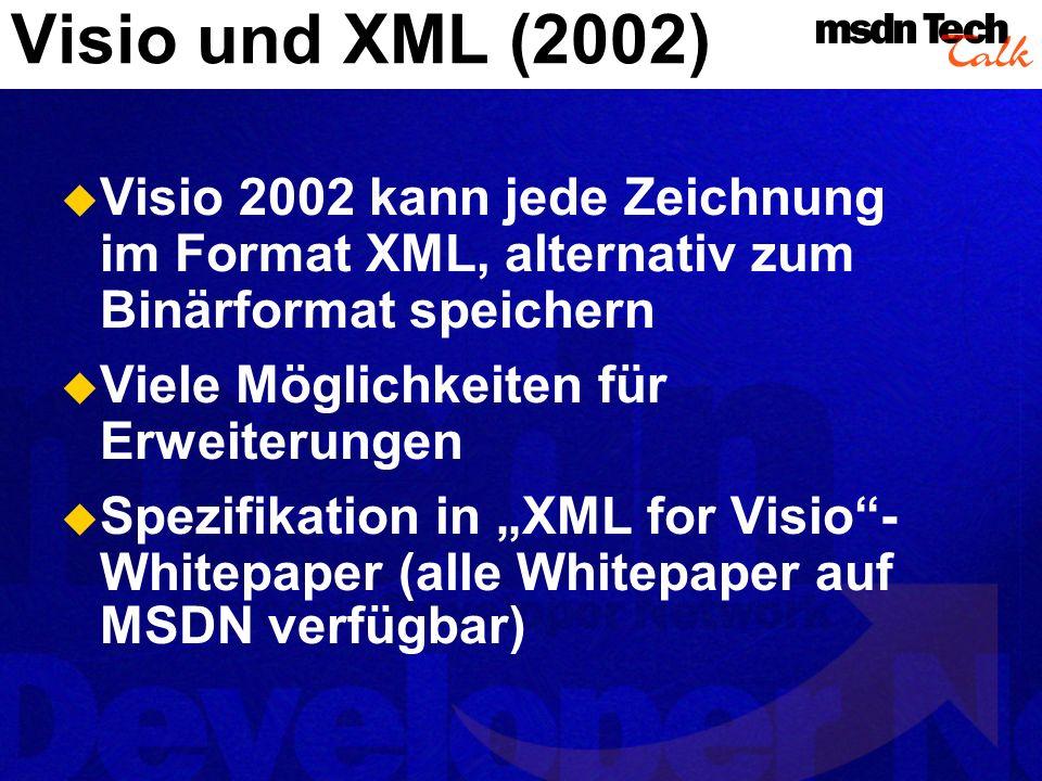 Visio lässt sich in Gesamtlösungen einbetten Aber: Visio muss auf dem System separat installiert sein Visio-ActiveX-Control in Vorbereitung Embedded Visio