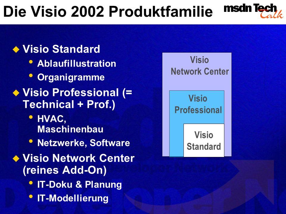 Visio Standard Geschäftsdiagramme und Fluss- diagramme Grafische Darstellung von Organisationsstrukturen Grafische Planung von Projekten Erstellung von Zeichnungen für Präsentationen Weiterere Geschäftszeichnungen wie Formulare, Landkarten & Grafiken