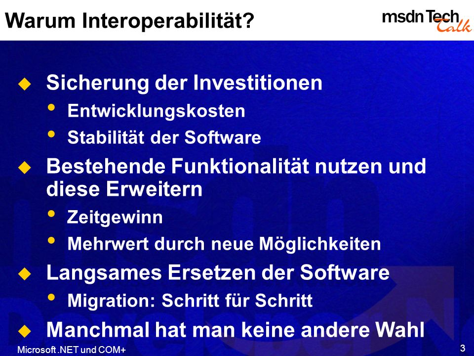 Microsoft.NET und COM+ 24 Interop Attribute Using System.Runtime.InteropServices [Guid(…), InterfaceType(ComInterfaceType.IsIUnknown)] Interface IFooBar { [DispId(64)] int Format( [MarshalAs(LPStr)] String s) } Mit Interop Attributen* kann man beim Export die Umsetzung auf COM Typen Definitionen beeinflußen.