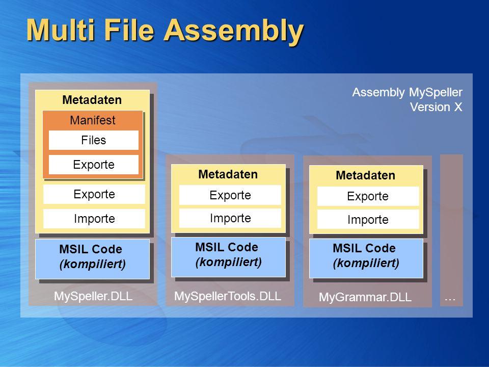 Multi File Assembly MSIL Code (kompiliert) MSIL Code (kompiliert) Metadaten Importe Exporte Manifest Exporte Files MySpeller.DLL MSIL Code (kompiliert