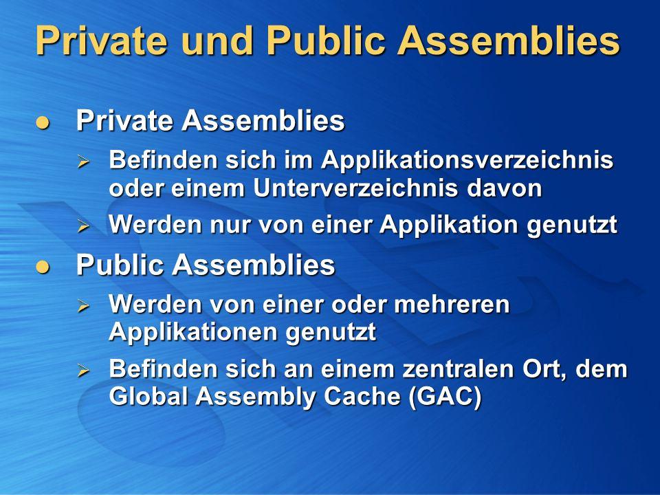 Private und Public Assemblies Private Assemblies Private Assemblies Befinden sich im Applikationsverzeichnis oder einem Unterverzeichnis davon Befinde