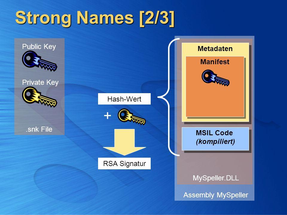 Strong Names [2/3] Private Key Public Key MSIL Code (kompiliert) MSIL Code (kompiliert) Metadaten Manifest Assembly MySpeller Hash-Wert RSA Signatur M