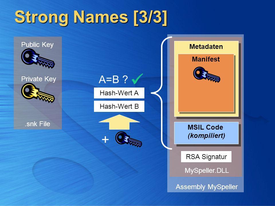 Strong Names [3/3] Private Key Public Key MSIL Code (kompiliert) MSIL Code (kompiliert) Metadaten Manifest Assembly MySpeller Hash-Wert A RSA Signatur