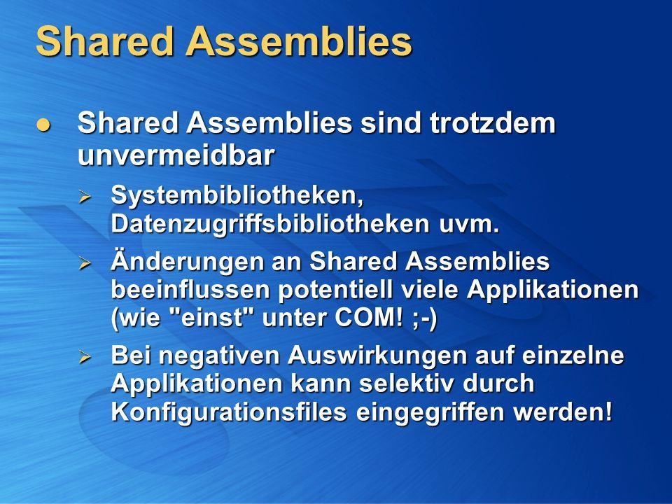 Shared Assemblies Shared Assemblies sind trotzdem unvermeidbar Shared Assemblies sind trotzdem unvermeidbar Systembibliotheken, Datenzugriffsbibliothe