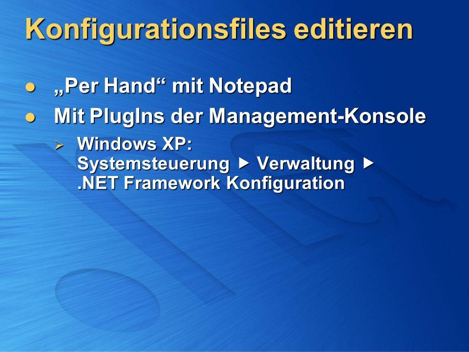 Konfigurationsfiles editieren Per Hand mit Notepad Per Hand mit Notepad Mit PlugIns der Management-Konsole Mit PlugIns der Management-Konsole Windows