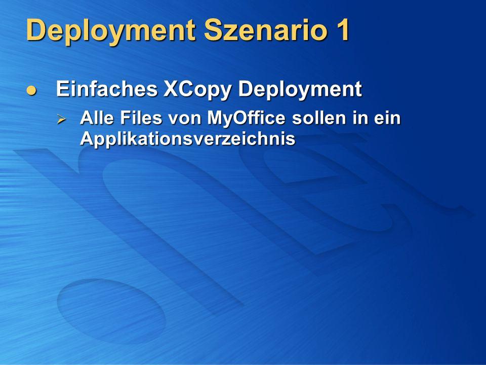 Deployment Szenario 1 Einfaches XCopy Deployment Einfaches XCopy Deployment Alle Files von MyOffice sollen in ein Applikationsverzeichnis Alle Files v