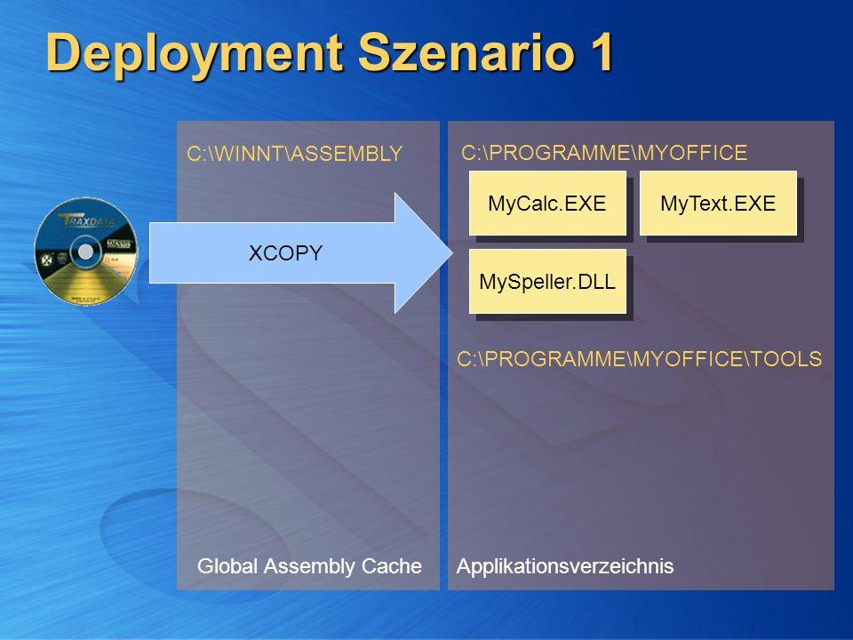 Deployment Szenario 1 Global Assembly Cache C:\WINNT\ASSEMBLY Applikationsverzeichnis C:\PROGRAMME\MYOFFICE C:\PROGRAMME\MYOFFICE\TOOLS MyCalc.EXE MyS