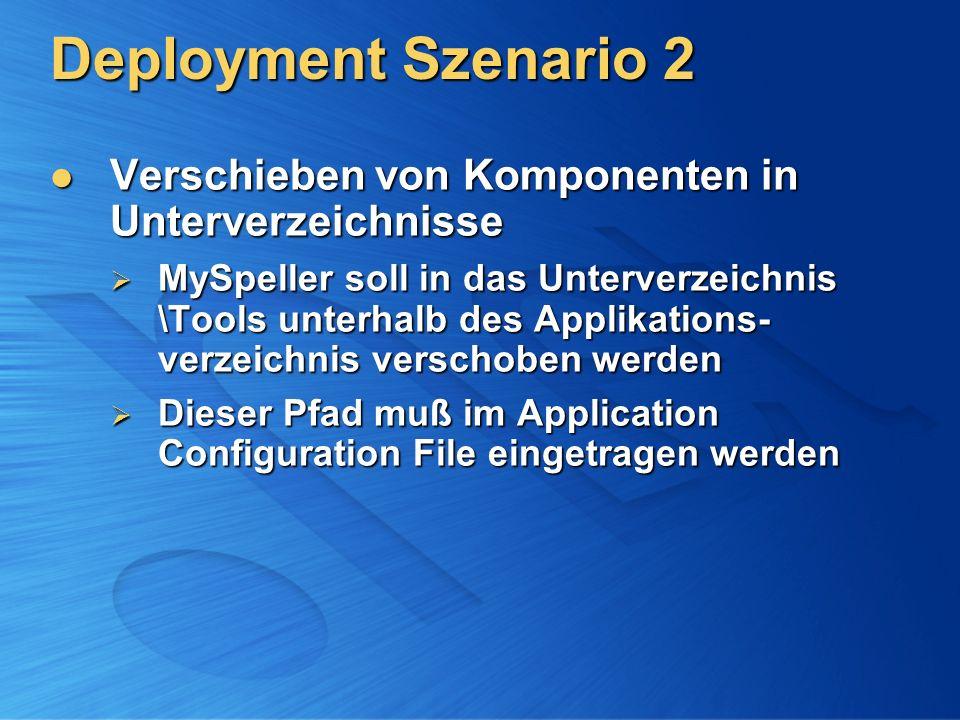 Deployment Szenario 2 Verschieben von Komponenten in Unterverzeichnisse Verschieben von Komponenten in Unterverzeichnisse MySpeller soll in das Unterv