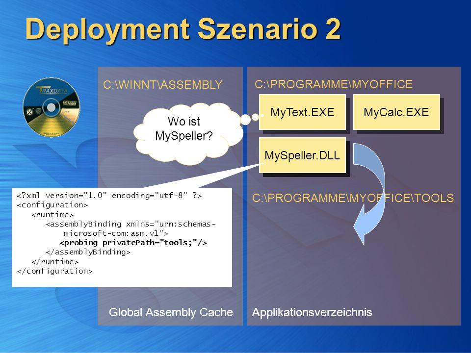 Deployment Szenario 2 Global Assembly Cache C:\WINNT\ASSEMBLY Applikationsverzeichnis C:\PROGRAMME\MYOFFICE C:\PROGRAMME\MYOFFICE\TOOLS MyCalc.EXE MyT