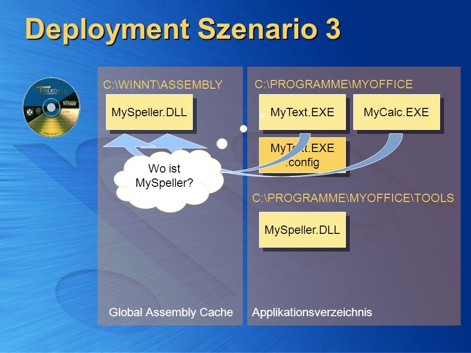 Deployment Szenario 3 Global Assembly Cache C:\WINNT\ASSEMBLY Applikationsverzeichnis C:\PROGRAMME\MYOFFICE C:\PROGRAMME\MYOFFICE\TOOLS MyCalc.EXE MyT